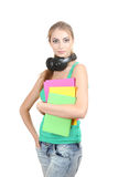 young girl with headphones Royalty Free Stock Photos