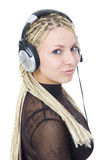 The young girl with a headphones Royalty Free Stock Image