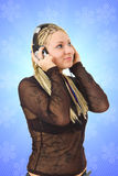The young girl with a headphones Stock Photography