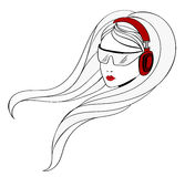 Young Girl with Headphones Stock Photos