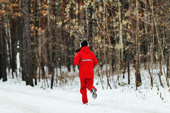 Young girl in headphones running snowy pine forest. During Winter marathon Stock Photography