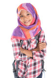 Young Girl With Headscarf And Backpack III Stock Images