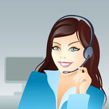 Young girl with headset. Vector illustration of a young girl with headset Royalty Free Stock Image