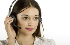 Young girl with headset Royalty Free Stock Photos
