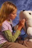 Young girl health care. Young girl using a stethoscope to check the condition of a stuffed dolphin Stock Photo