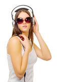 Young girl hear music by headphones Royalty Free Stock Photo