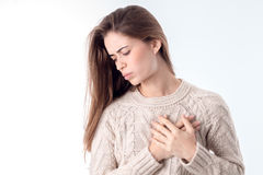 Young girl with heart disease Royalty Free Stock Photography