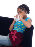 Young girl with a heartache. A cute young girl with a heartache holding handkerchief Stock Images