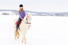 Young girl in helmet riding white horse on field Stock Images