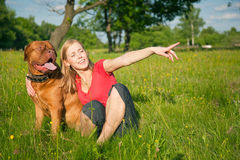 Young girl and her dog Stock Photos