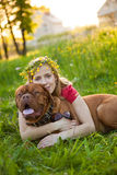 Young girl and her dog Royalty Free Stock Images
