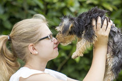 Young girl and her dog Royalty Free Stock Photography