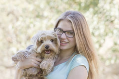 Young girl and her dog Royalty Free Stock Image