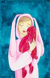 A young girl with her eyes closed in a pink rabbit costume hugs a big red rabbit toy. Watercolor illustration on an abstract blue stock illustration