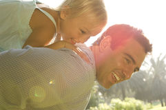A young girl with her father Stock Photos