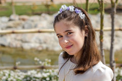 Young girl in her First Communion. A young girl celebrating her First Holy Communion Royalty Free Stock Photo