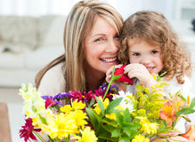 Young girl with her grandmother Stock Images