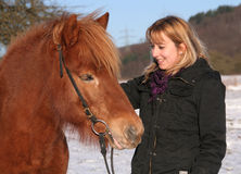 Young Girl with her Islandic horse Stock Photos