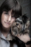 Young girl with her Yorkie puppy Royalty Free Stock Photos