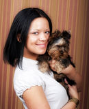 Young girl with her Yorkie puppy Royalty Free Stock Photo