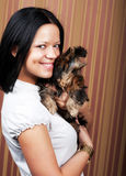 Young girl with her Yorkie puppy Stock Images