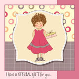Young girl she hide a gift Royalty Free Stock Photography