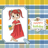 Young girl she hide a gift Stock Images