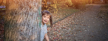 Young girl hides behind a tree stock image