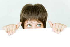 Young girl hiding Stock Photo