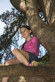 Young Girl High In an old tree daydreaming Royalty Free Stock Images