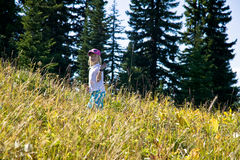 Young girl hiking in Canada Stock Images