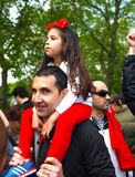 Young girl with his father during a demo Stock Photo