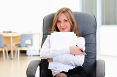 Young girl in his office royalty free stock photography