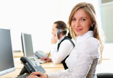 Young girl in his office Stock Photography