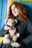 Young girl with his old lovely Teddy Bear Royalty Free Stock Images