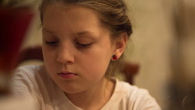 Young girl in his thoughts stock footage