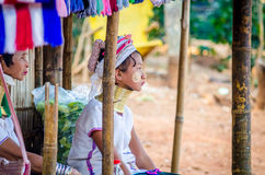 Young girl in a Hmong village stock photo
