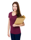 Young girl hold with folder Royalty Free Stock Photo