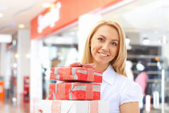 Young girl hold gift boxes Royalty Free Stock Photo