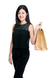 Young girl hold shopping bag Stock Images