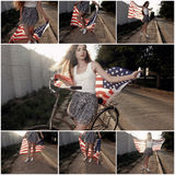 Young girl holding americam stars and stripes flag in her hands outdoor collage retro color toned Stock Photos