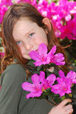 Young girl holding azaleas Royalty Free Stock Photo