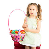 Young Girl and the Basket with Chocolate Eggs Royalty Free Stock Photos