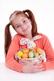 Young girl holding a basket of Easter eggs Royalty Free Stock Photography
