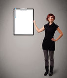 Young girl holding black folder with white sheet copy space Stock Photography