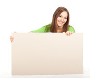 Young girl holding blank poster Stock Photos