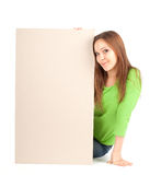 Young girl holding blank poster Stock Photography