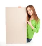Young girl holding blank poster Stock Photo