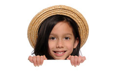 Young Girl Holding Blank Sign Royalty Free Stock Photography
