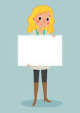 Young girl holding blank sign Stock Image